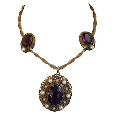 Gorgeous Vintage West German Pendant Necklace and Earring Set