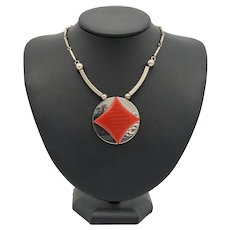 German Art Deco Chrome and Early Plastic - Galalith -  Necklace
