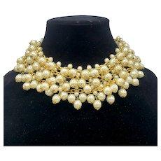 DEMARIO Elaborate Faux Pearl Collar Necklace