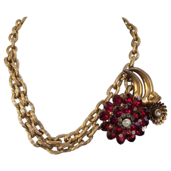 Spectacular 1940's Ruby-Red Flower Pendant on Double Link Chain