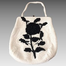 1950's Black and White Beaded Bag - Made in Belgium