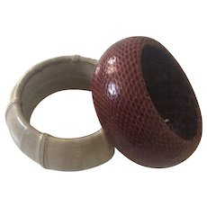 Snake and Eel Skin Covered Bangles