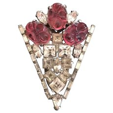 Ben Meltzer Pink & Clear Stone Deco Dress Clip