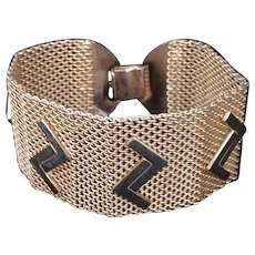 Art Deco Golden Mesh Metal Bracelet