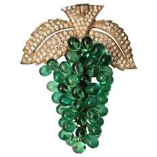 Green Glass Grape Fur Clip
