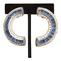 Blue and White Art Deco Earrings