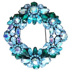 Weiss Aurora Borealis Crystal Wreath Pin