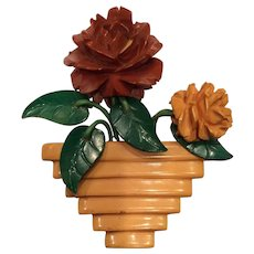 Carved Bakelite Flower in Pot Pin