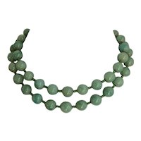 Miriam Haskell Double Strand Green Art Glass Beaded Necklace