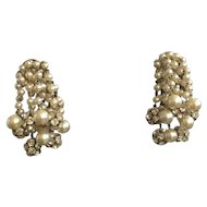 Drippy Rondelle and Faux Pearl Earrings
