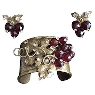 Gerard Yosca Grape Motif Cuff and Earring Set