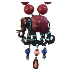 Fancy Elephant Pin-Pendant with Graduated Red Beaded Necklace