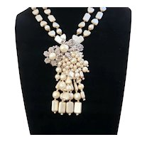 Major Miriam Haskell Pendant  and Clip Necklace
