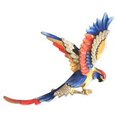 Red, White, and Blue Patriotic Parrot Pin