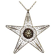 Delicate Filigree Star Pendant Necklace