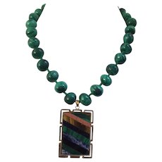 Knotted Malachite Beaded Necklace with Sliced Mineral Pendant