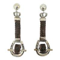 Braided Leather Horseshoe Clip-on Earrings