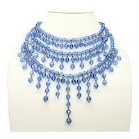 BEAUTIFUL Blue Beaded 3 Strand Necklace