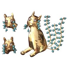 Fred A. Block Cat Pin and Earrings