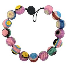 Colorful Geometric Beaded Balls Necklace