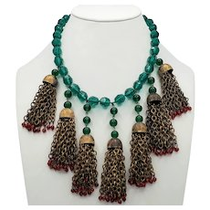 Jolly Red and Green Beaded and Chain Tassel Bib Necklace
