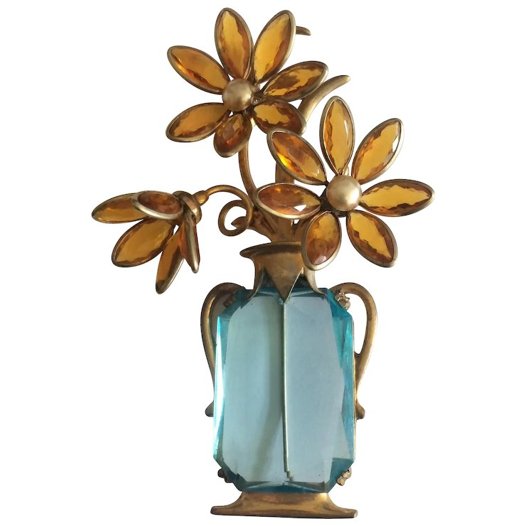 Golden Flowers In An Aqua Vase Pin A Connoisseurs Collection