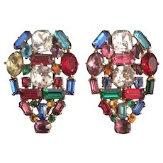 Extraordinary Pair of Colorful Golden Eisenberg Clips