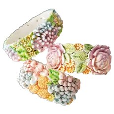 Three Gorgeous Painted Floral Celluloid Bracelets