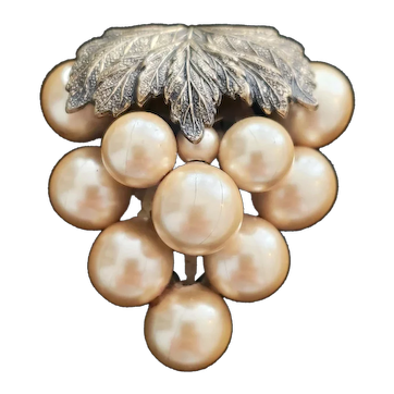 Lustrous Cluster of Faux Pearls Grape Dress Clip