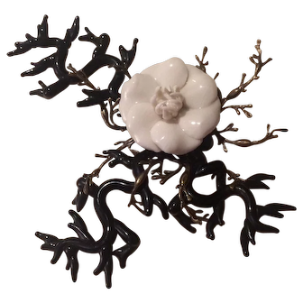"""""""Major"""" Gian Paolo Maria Exotic Black and White Camellia Flower Brooch"""