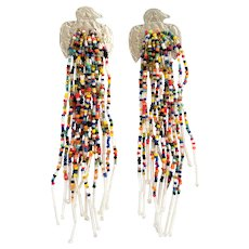 Loretta Chama Native American Indian Sterling and Beaded Earrings