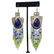 Native American Sterling and Lapis Beaded Earrings
