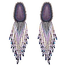 Dramatic American Indian Beaded Earrings