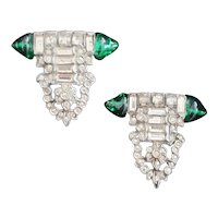 Art Deco Clear and Green Clip On Earrings