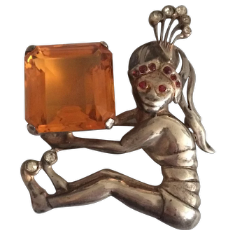 "Sterling ""Genie Not in a Bottle"" Holding Large Stone Pin"