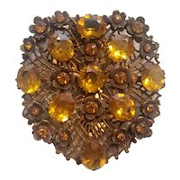 1930's Czech Amber Crystal and Filigree Metal Dress Clip