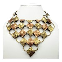 Jean Baptist Pericles Copper & Brass Modernist Bib Necklace - JB Pericles Haiti