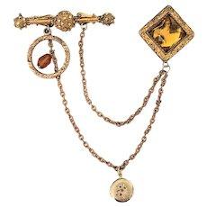 Victorian Chatelaine Locket Pin