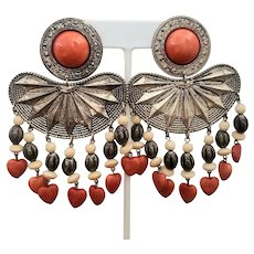 Bohemian Clip-on Earrings Embellished with Orange Hearts