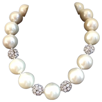 Spectacular Over-the-top Huge Faux Pearl and Rondelle Necklace