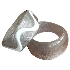 Pair of Sparkly Lucite Bangles - 1960s