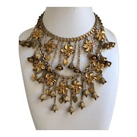 Miriam Haskell Double Strand Flower and Bell Necklace