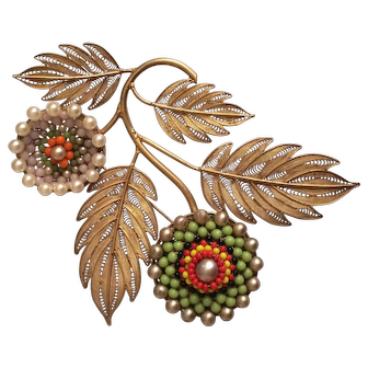 Colorful Beaded Flower with Filigree Leaves Brooch
