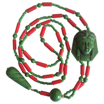 1920's Revivalist Egyptian Beaded Necklace