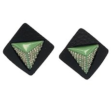 Dazzling Black and Green Art Deco Czech Clip Ons Earrings