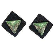 Dazzling Black and Green Art Deco Czech Clip Ons Earrings