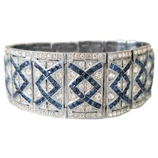 Art Deco Czech Blue and Clear Geometric Rhinestone Evening Bracelet