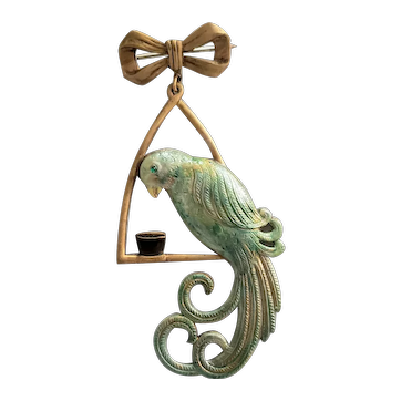 Festive Green Parrot on a Swing Pin