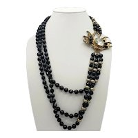 Vintage Swan Clasp Three Strand Necklace with Black and Gold Beads