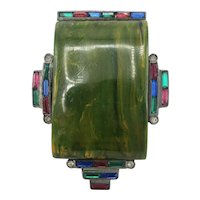 Stunning Creamed Spinach Bakelite and Colorful Crystal Dress Clip